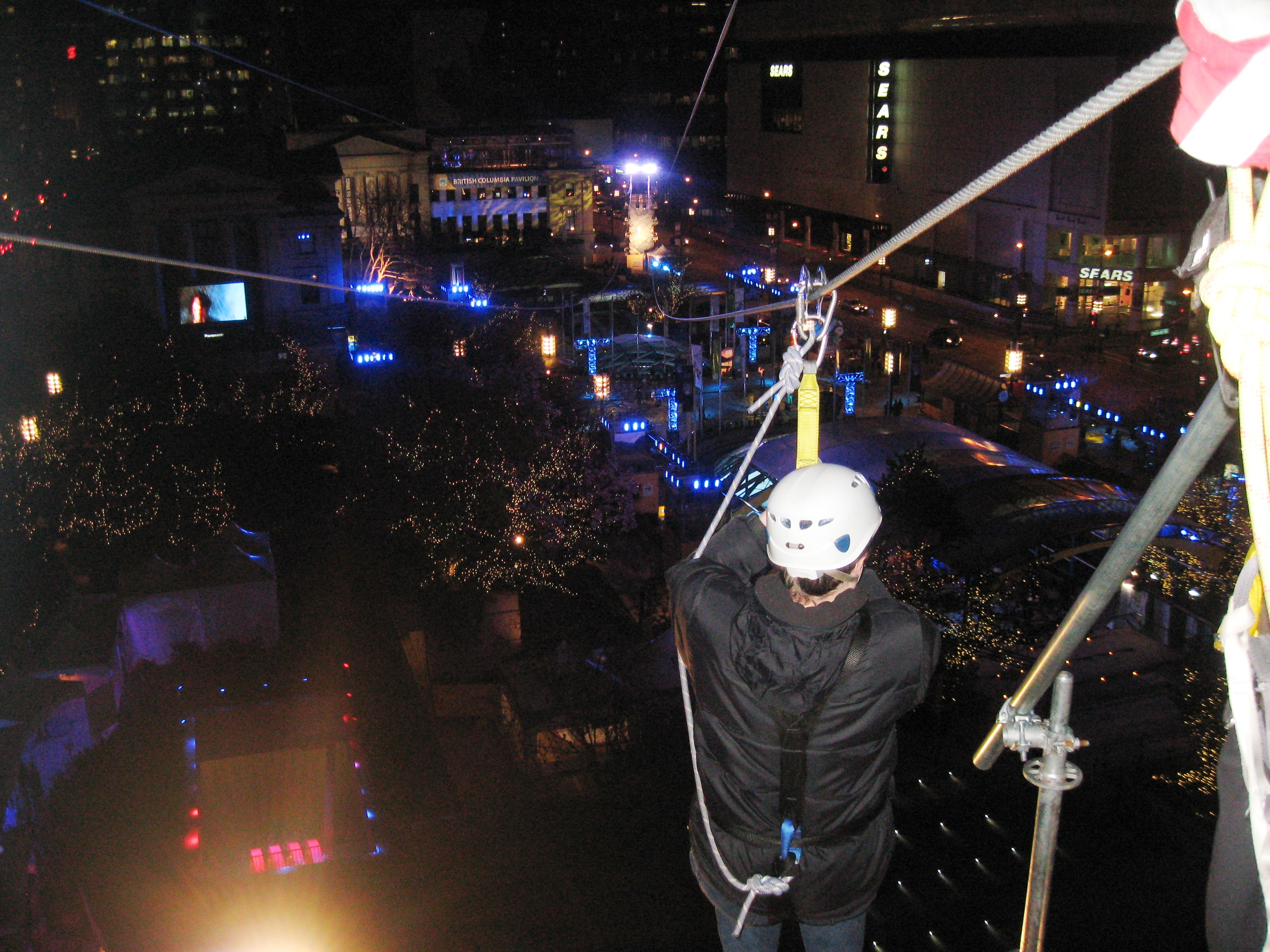 Shawn ziplining over Vancouver